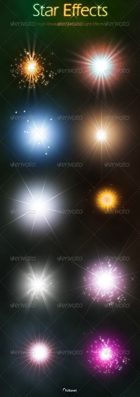 10 High resolution starburst light effects average size about 850px. Included 1 PSD file with 10 stars, each star is in separate folder and build with multiple layers, all layers can be edited, also included all 10 stars in png format.