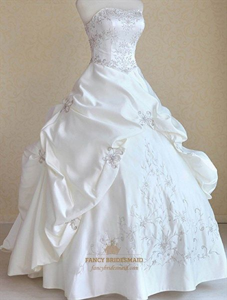 Wedding Dresses With Embroidery,Strapless Wedding Dresses With Beading | Fancy B…