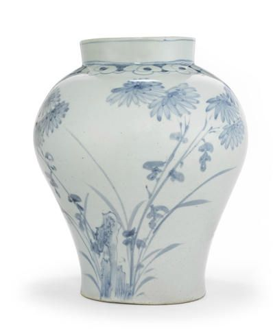 A blue and white jar with chrysanthemum, orchid and bamboo decoration, Joseon dynasty, late 18th century. Estimate $40,000 - 60,000 (€35,000 - 53,000). Photo: Courtesy of Bonhams.