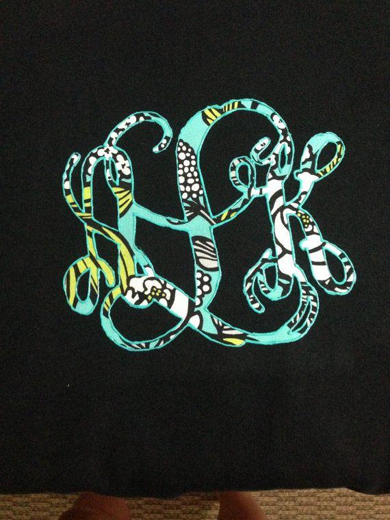 Custom Made Monogram Sweatshirt (Made with Vera Bradley or Other Fabric) on Etsy, $40.00
