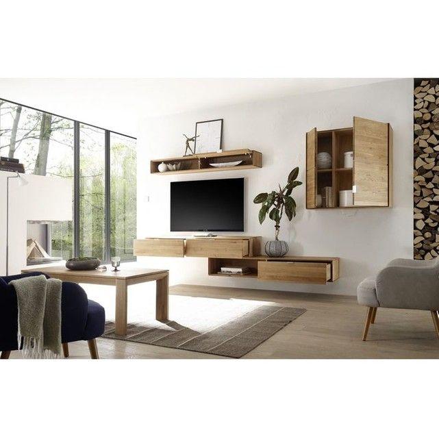 Element Suspendu 1 Tiroir 1 Niche Filigrame En Chene Massif Taille Taille Unique Home Decor Tv Unit Design Furniture Home Decor