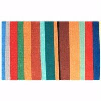 Anna Chandler striped doormat - for some reason, I prefer the vertical stripes to horizontal ones. And I like the varying widths and pops of orange-red and turquoise too.