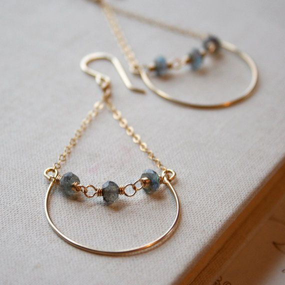 Labradorite Row Earrings- labradorite, goldfill. #jewelry #earrings #gemstone #metal