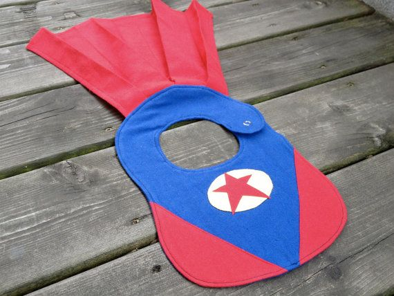 Superhero Baby Bib by Stitch by StitchSewing on Etsy, $25.00