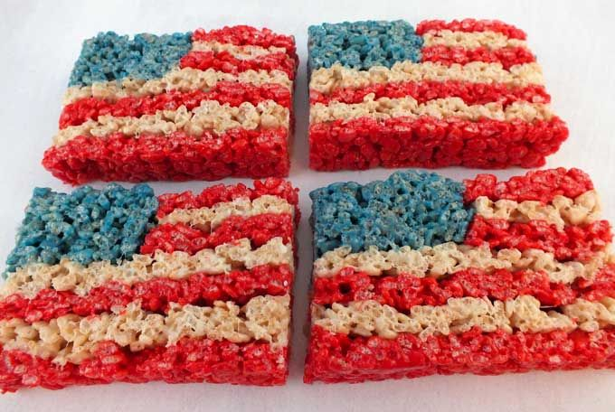 Our 4th of July Rice Krispie Treats are a fun, delicious and easy to make treat for your 4th of July party or Memorial Day BBQ!  For more fun 4th of July Food Ideas follow us on Pinterest.