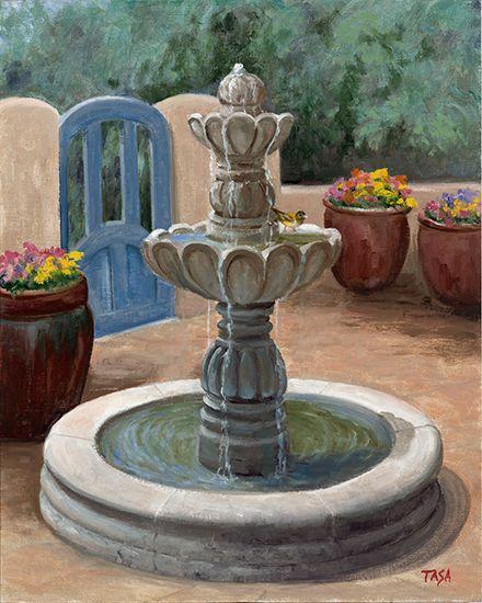 Fountain In the Courtyard - Dennis Tasa - Oil on linen - 20 x 16 - www.dennistasa.com