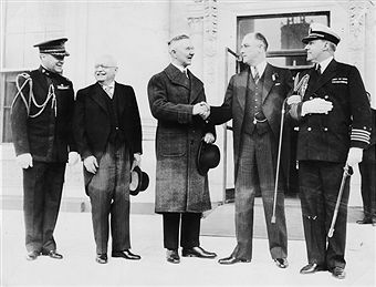 President Roosevelt greets Hjalmar Schact, German President of the Reichsbank during his visit to Washington, DC, June 5, 1933.