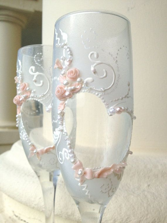 Hand painted wedding champagne glasses, heart-shape decoration with light pink pearls and roses