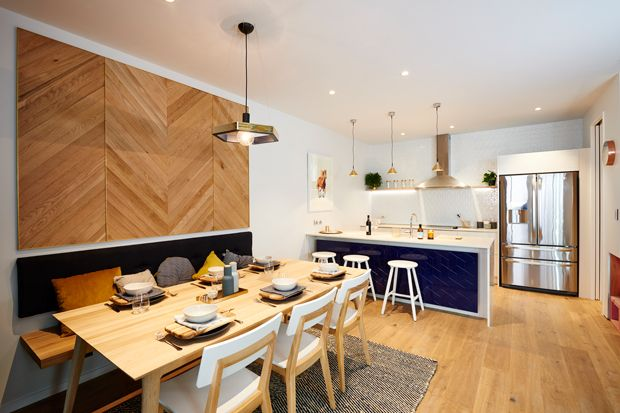 Alex and Corban's kitchen featuring our Squab Cushion Covers and Danbo wooden boards.