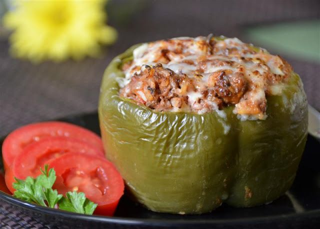 stuffed peppers. Liked a lot may try with ground turkey next time. Didn't have a1/worshire sauce but seasoned w garlic salt, pepper, basil. Nice presentation in pepper (maybe add a little cheese in middle)  but may mince entire pepper next time and serve.