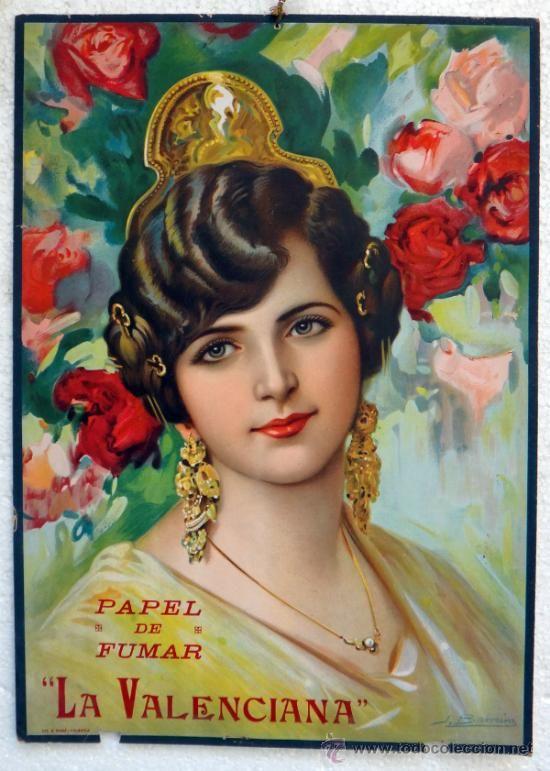 CARTEL PUBLICIDAD PAPEL DE FUMAR LA VALENCIANA DE LAYANA VALENCIA, BARREIRA , CARTON ,ORIGINAL (Coleccionismo - Carteles Gran Formato - Carteles Publicitarios)