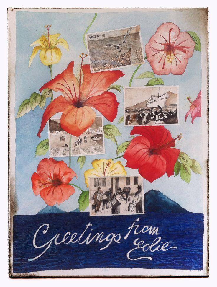 Francesco Faina Greetings from eolie watercolor su carta Khadi - 50x70 | 640 gr