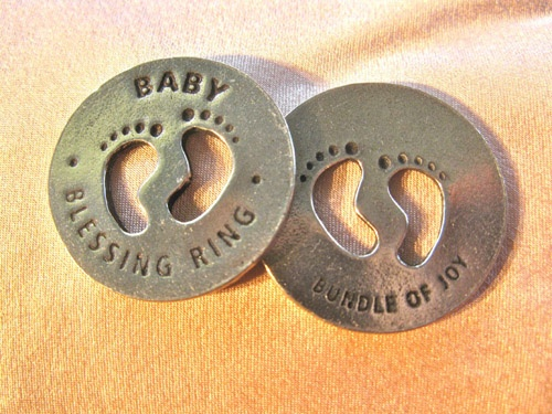 Baby blessing ring to pass on best wishes with a small gift