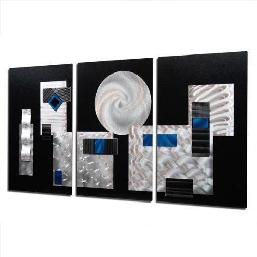 Black and Silver with Fusions of Blue Jewel Tone Modern Abstract Etched Hand-Made Metal Wall Sculpture - Accent Home Decor, Contemporary Metal Wall Art, Set of Three - Comp 2 by Jon Allen - 47' x 24' *** Continue to the product at the image link. (This is an affiliate link and I receive a commission for the sales)