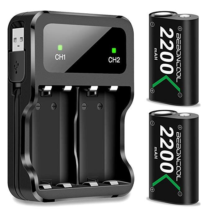 Beboncool Xbox One Battery Pack 2 X 2200mah Rechargeable Battery For Xbox One One S One X Elite Controll Xbox One Elite Controller Xbox One Controller Xbox One