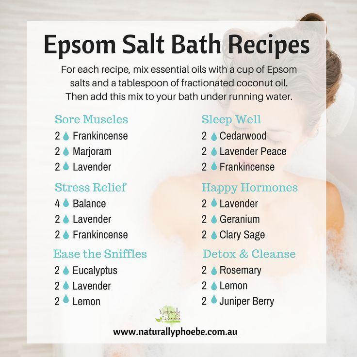 Epsom Salt Bath Recipes With Essential Oils Bath Salts Essential Oils Bath Recipes Aromatherapy Oils