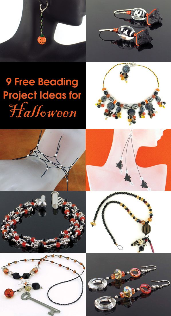 It's Spook-tober and we have 9 spooktacular free beading project ideas to help inspire you to create your own earrings, necklaces and bracelets and celebrate. Click here- http://softflexgirl.blogspot.com/2013/10/8-free-diy-halloween-beaded-jewelry.html No tricks, just treats! #beading #diyjewelry #halloween #diyhalloween #halloweenjewelry #necklace #bracelet #earrings