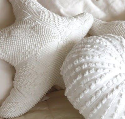 Seashell pillows from old chenille bedspreads! For my guest bedroom when Sean moves out for good!