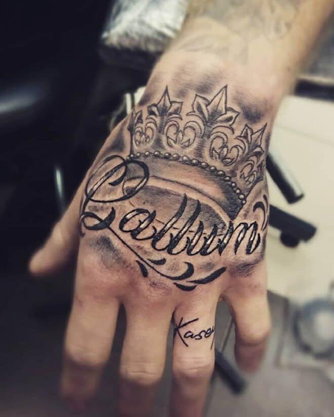 Name Hand Tattoo 30 Brilliant Name Tattoo Ideas For Men Names Tattoos For Men Hand Tattoos Tattoos For Guys