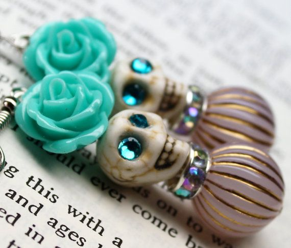 Hey, I found this really awesome Etsy listing at https://www.etsy.com/listing/247880286/sugar-skull-earrings-with-mint-roses-dod