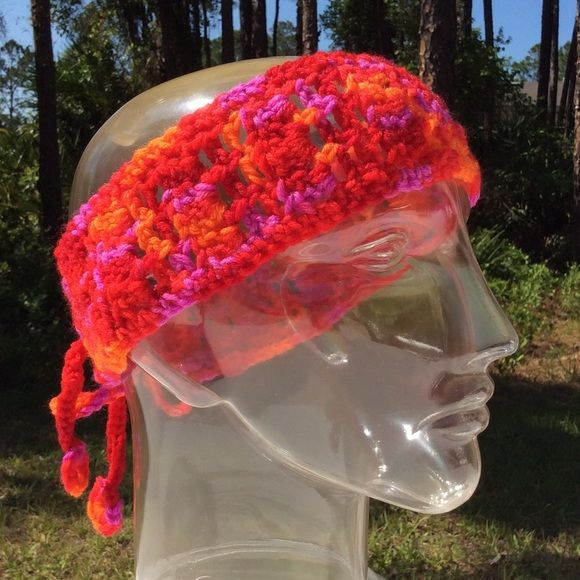 """Handmade tie back headband, sangria colored Color=Sangria. Lngth=3"""" (approx). Width excluding tie strips=20"""" (approx). Each tie strip lngth=13.5"""" (approx). Crocheted. Handmade Accessories Hair Accessories"""