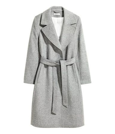 Gray melange. Coat in felted wool-blend fabric. Wide notched lapels, concealed side pockets, wide tie belt at waist, and no buttons. Back vent. Lined. Wool
