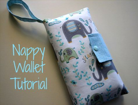 Nappy Wallet Tutorial - Sew a simple wallet to hold a nappy and wipes when you are out and about #sewing #tutorial #baby