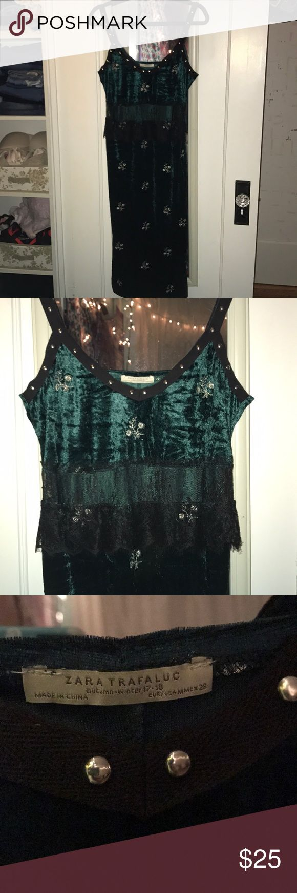 ZARA Collection Dress Autumn/Winter exclusive collection mid-dress from ZARA  Never worn because it was too big on me Velour emerald green color with silver floral designs and silver studs on straps  Has a piece of black see thru lace under chest area(picture 4) Size medium Zara Dresses Midi