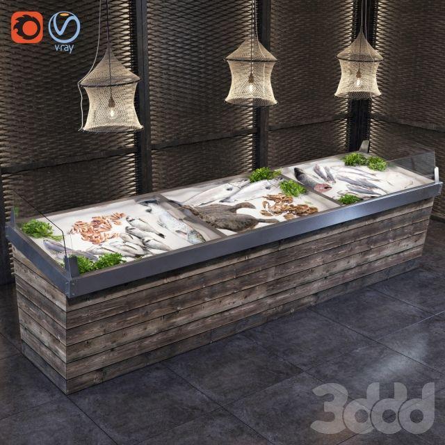 3d модели: Магазин - Витрина с рыбой и морепродуктами