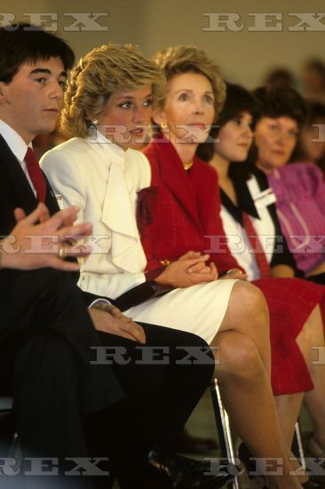 November 11 1985: Princess Diana accompanied by US First Lady Nancy Reagan, Princess Diana listens to a specialist during her visit to Springfield Drug Rehabilitation Center in Springfield, USA