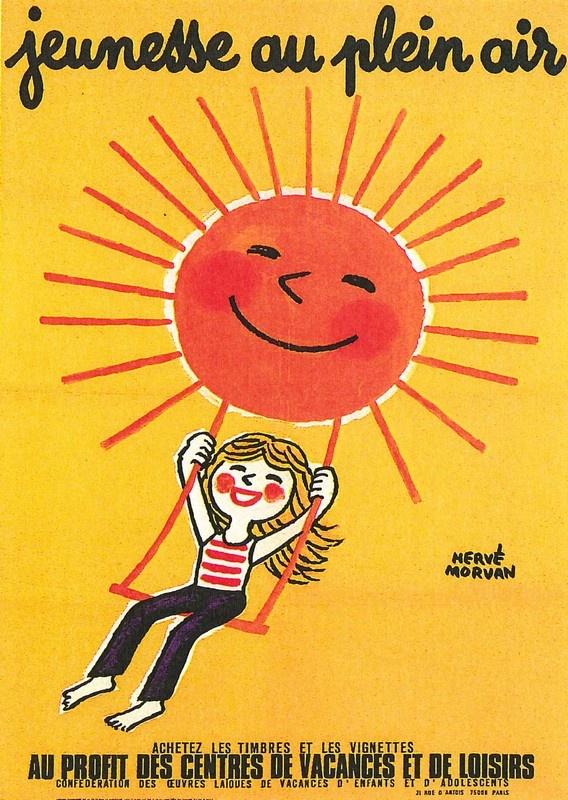¤ HERVE MORVAN - Jeunesse au plein air. Achetez les timbres et les vignettes au profit des centres de vacances et de loisirs !