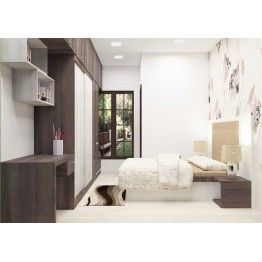 Contemporary bedroom furniture set made up of plywood with laminate finish. Consisting bed, fabric upholstered headboard, wallpaper, wardrobe, study unit and dresser.  The interior design of the bedroom adds beguiling look. Any modernized home will need a contemporary style to make the entire space look adorning.