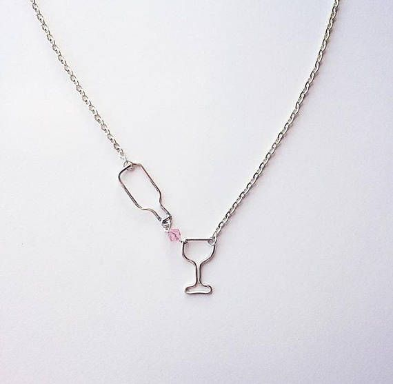 Cute Gold Plated Heart Wine Glass Pendant Necklace Bottle Chain Women Jewelry