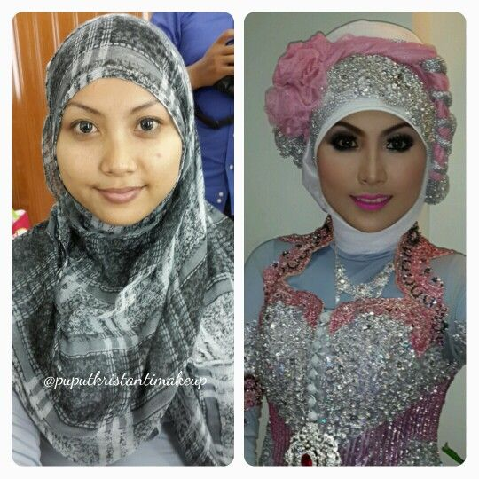 Muslim Wedding makeup for the bride.. makeup and hijab by me :) #beforeafter without editing