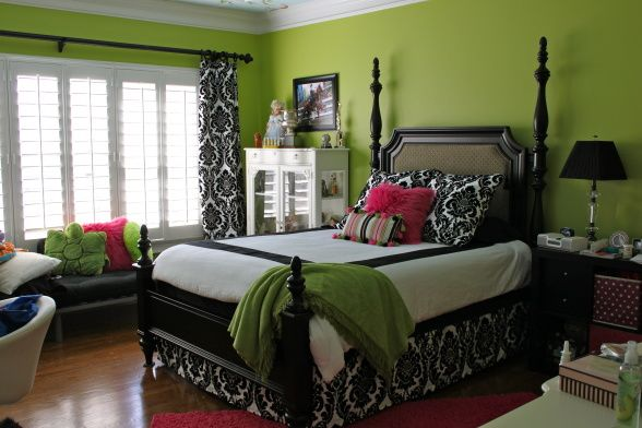 Teen girls room, 16 year old girl makeover.  Apple green walls, black, white and hot pink accents.  Still need to turn the headboard around...., teen girl remodel..still need to turn the headboard around...dont be afraid to try bold colors!, Bedrooms Design