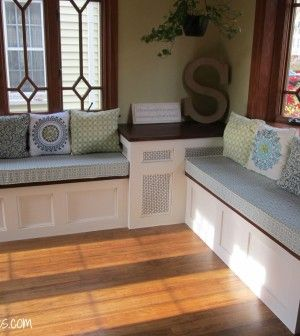 inspiredwives DIY Storage Bench - I know the pinhole siding is probably covering a heat radiator but I like the look even for the bench parts.