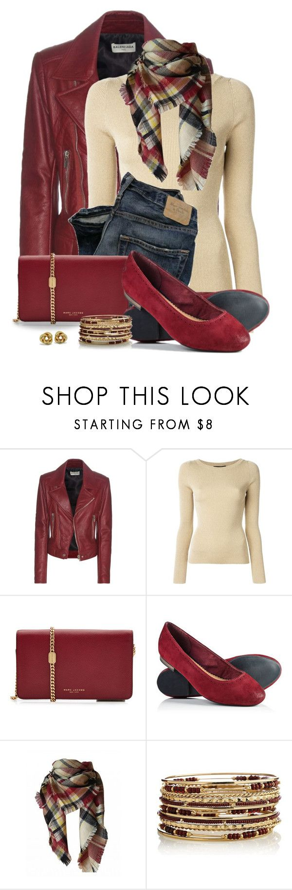 """""""Burgundy Bag and Shoes"""" by snickersmother ❤ liked on Polyvore featuring Balenciaga, Dolce&Gabbana, RGB, Marc Jacobs and Superdry"""