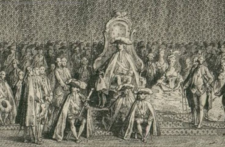 Louis XVI and Marie Antoinette, a detail from an engraving depicting the opening of the Estates General on May 5, 1789.