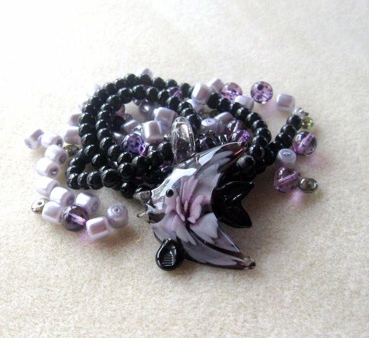 Glass Fish pendant, Howlite, Purple Glass, Jewelry Making Beads, DIY Jewelry Kit