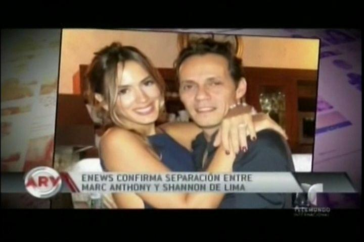 Enews Confirma Separación Entre Marc Anthony y Shannon De Lima