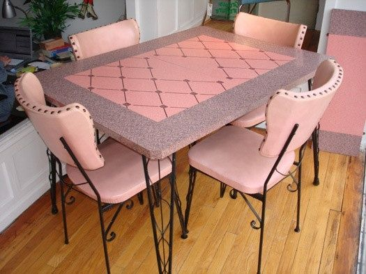 Pink Laminate Dinette Set With Leaf And Hairpin Legs