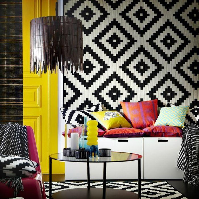 Muster Schwarz Weiss Wandgestaltung Mit Farbe Einrichtungsbeispiele Wohnzimmer Einrichten Ikea Teppich