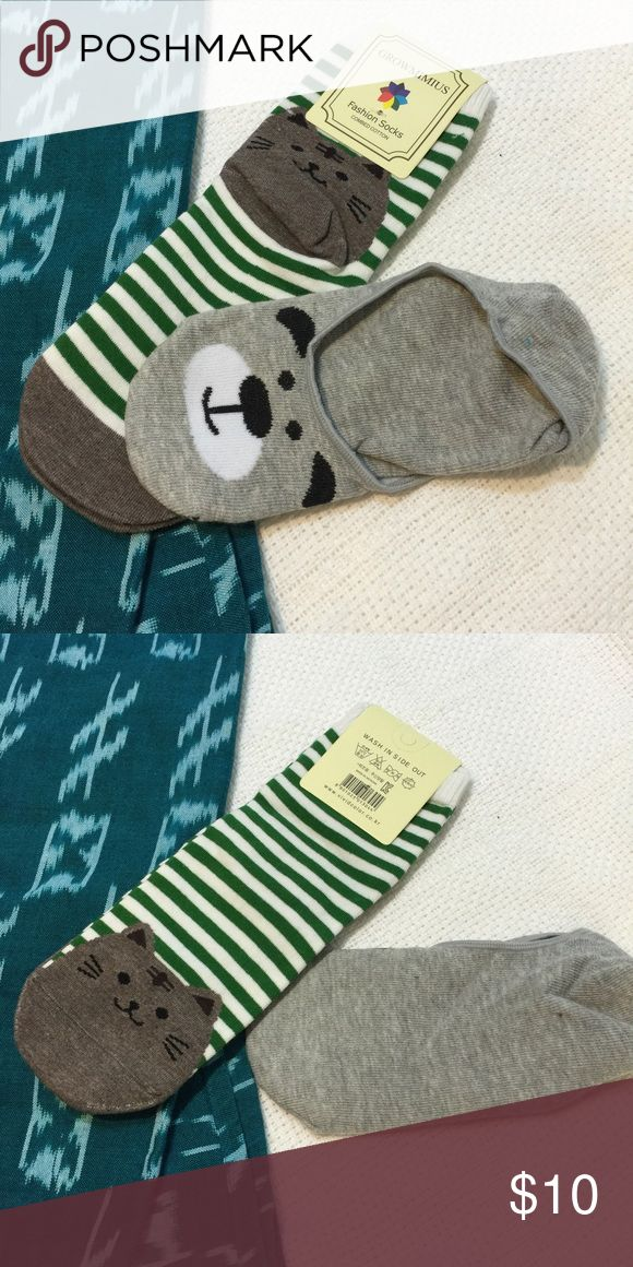 🆕 Adorable cat & bear socks 2 pairs! Brand new! Adorable pair of socks for sale! One has a cat on the heel and toe with cute green stripes. The other pair is a no-show sock style with a bear print on the toes. Brand new!! Super adorable - you won't want to put your shoes on!!! 🚫 trades Accessories Hosiery & Socks