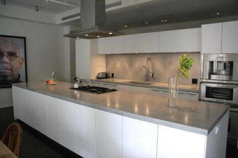 sleek concrete bench top with gloss white cabinets - Google Search