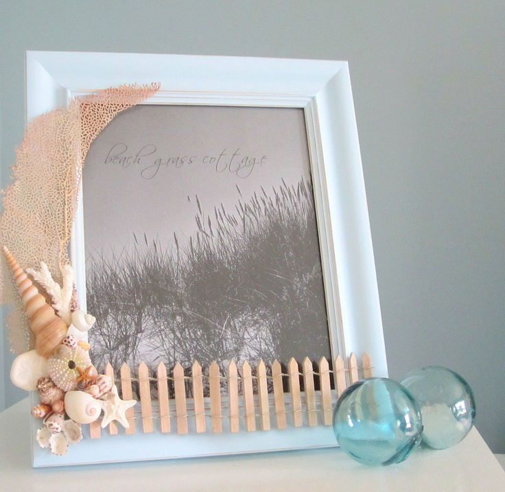 Beach Decor Shell Frame - Nautical Seashell Frame with Lace Coral, Shells, and Beach Fence - Blue 8x10. $30.00, via Etsy.