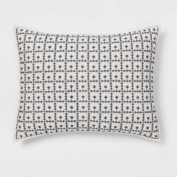 Embroidered Grid Sham Blue Threshold In 2020 Cotton Pillow Cases Embroidered Pillow Quilted Pillow Shams