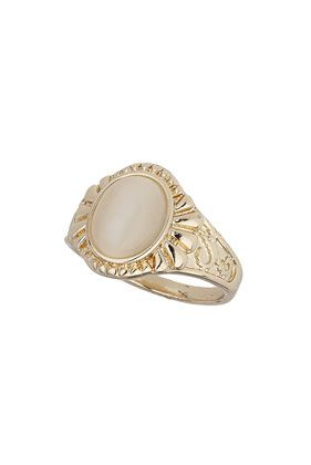 Cream Oval Catseye Stone Ring 6.50