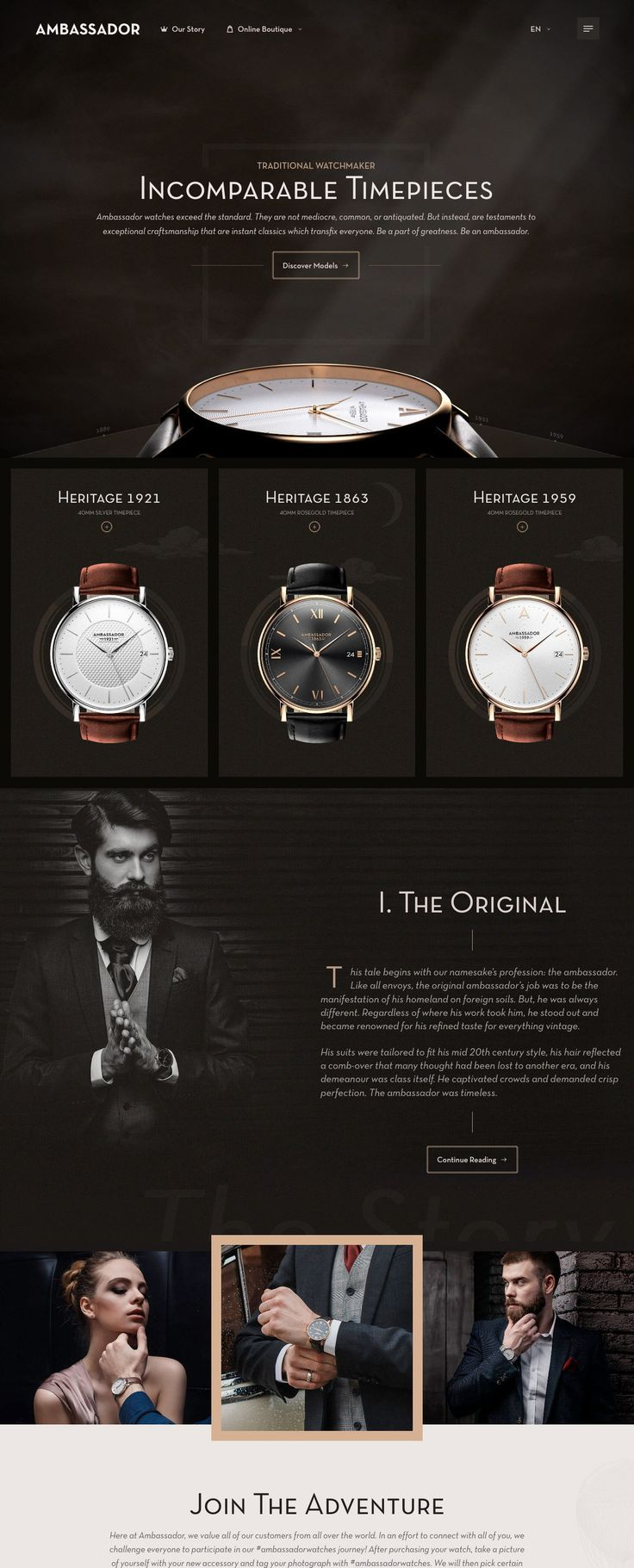 Ambassador Watches (More web design inspiration at topdesigninspiration.com) #design #web #webdesign #sitedesign #responsive #ux #ui
