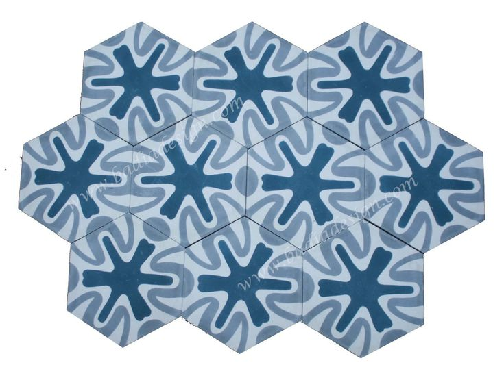 Badia Design Inc Store - Moroccan Hexagon Shaped Cement Tile - CT099, $0.00 (http://www.badiadesign.com/moroccan-hexagon-shaped-cement-tile-ct099/), hexagon shaped Moroccan cement tile, mosaic hand painted cement tiles