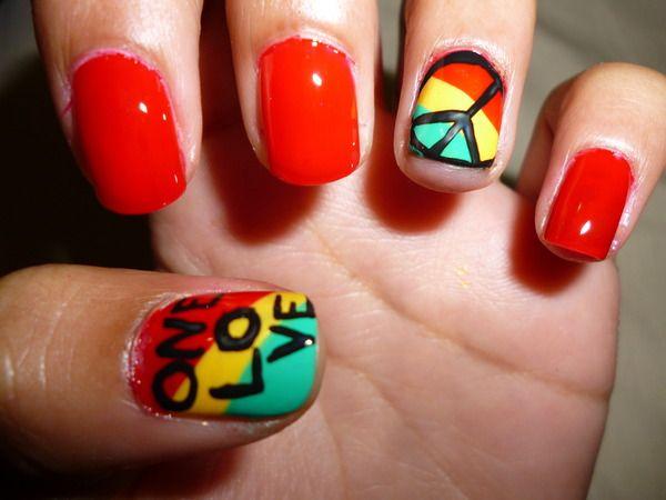 Rastafarian NailsBobmarley, Nails Art, China Glaze, Peace Signs, Bobs Marley, Black Nails, Nails Ideas, Nails Polish, Rasta Nails